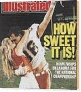 University Of Miami Dennis Keller, 1988 Orange Bowl Sports Illustrated Cover Wood Print