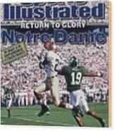 University Of Notre Dame Maurice Stovall Sports Illustrated Cover Wood Print