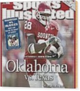 University Of Oklahoma Adrian Peterson Sports Illustrated Cover Wood Print