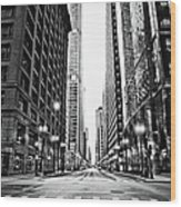Urban Chicago City Intersection Of Wood Print