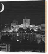 Urban Moonset Wood Print