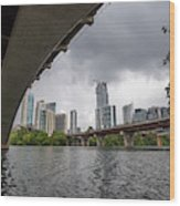 Urban Skyline Of Austin Buildings From Under Bridge With Stormy  Wood Print