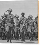 U.s. Marines Marching In Review Wood Print