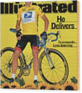 Us Postal Service Lance Armstrong, 2001 Tour De France Sports Illustrated Cover Wood Print