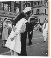 Us Sailor Bending Young Nurse Over His A Wood Print