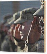 U.s. Soldiers Commemorate 911 Wood Print