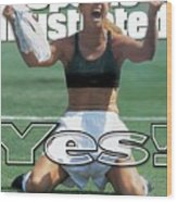 Usa Brandi Chastain, 1999 Womens World Cup Final Sports Illustrated Cover Wood Print