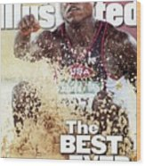 Usa Carl Lewis, 1996 Summer Olympics Sports Illustrated Cover Wood Print