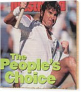 Usa Jimmy Connors, 1991 Us Open Sports Illustrated Cover Wood Print