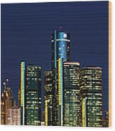 Usa, Michigan, Detroit, Skyline & Wood Print