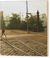 Usa, New York, Brooklyn, Woman Crossing Wood Print