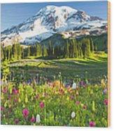 Usa, Washington, Mt. Rainier National Wood Print