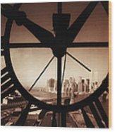 Usa,new York City, Brooklyn Bridge And Wood Print