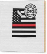 Utah Firefighter Shield Thin Red Line Flag Wood Print