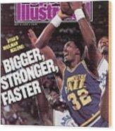 Utah Jazz Karl Malone, 1988 Nba Baseball Preview Sports Illustrated Cover Wood Print