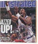 Utah Jazz Karl Malone, 1997 Nba Finals Sports Illustrated Cover Wood Print