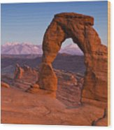 Utahs Delicate Arch At Dusk Wood Print