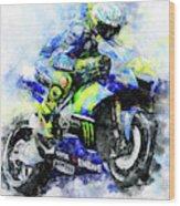 Valentino Rossi - 18 Wood Print