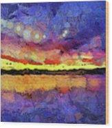 Van Gogh Sunset Reflection Wood Print