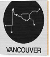 Vancouver Black Subway Map Wood Print