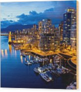 Vancouver Night View Wood Print