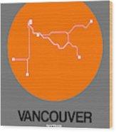 Vancouver Orange Subway Map Wood Print