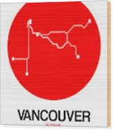 Vancouver Red Subway Map Wood Print