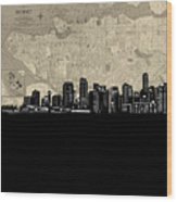 Vancouver Skyline Map Wood Print