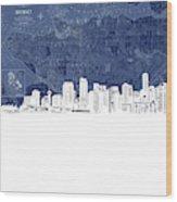 Vancouver Skyline Map Blue Wood Print
