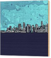 Vancouver Skyline Map Turquoise Wood Print