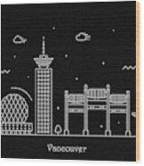 Vancouver Skyline Travel Poster Wood Print
