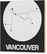 Vancouver White Subway Map Wood Print