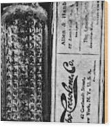 Vapo-cresolene Vaporizer Liquid Poison Bottle Black And White Wood Print