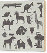 Vector Animals Set Wood Print