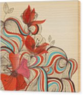 Vector Floral Background Wood Print