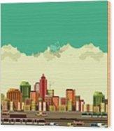 Vector Illustration Big City Panoramic Wood Print
