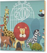 Vector Illustration Card With Animals Wood Print