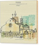 Vector Illustration Of Padua Cathedral Wood Print