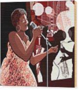 Vector Illustration Of Singer On Grunge Wood Print