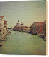 Venice, Italy - Grand Canal And The Baroque Domes Of Sai Wood Print