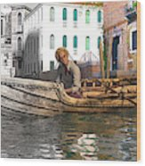 Venice Pause In The Evening Wood Print