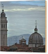 Venice Tower And Dome Wood Print