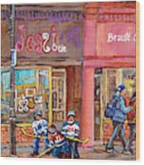 Verdun Montreal Storefront Painting Jessie Et Cie Beaute Candy Nail Shop Hockey Artist C Spandau Art Wood Print