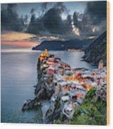 Vernazza Cityscape Wood Print