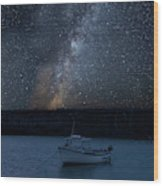Vibrant Milky Way Composite Image Over Landscape Of Fishing Boat Wood Print