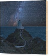 Vibrant Milky Way Composite Image Over Landscape Of Lighthouse O Wood Print