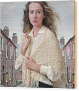 Victorian Woman On A Cobbled Terraced Street Wood Print