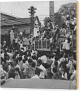Vietnamese Civilians Crowding In Front Wood Print