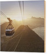View Of A Cable Car At Sunset, Showing Wood Print