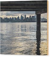 View Of Downtown Seattle At Sunset From Under A Pier Wood Print